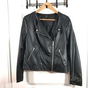 Black Faux Leather Medium Biker Jacket